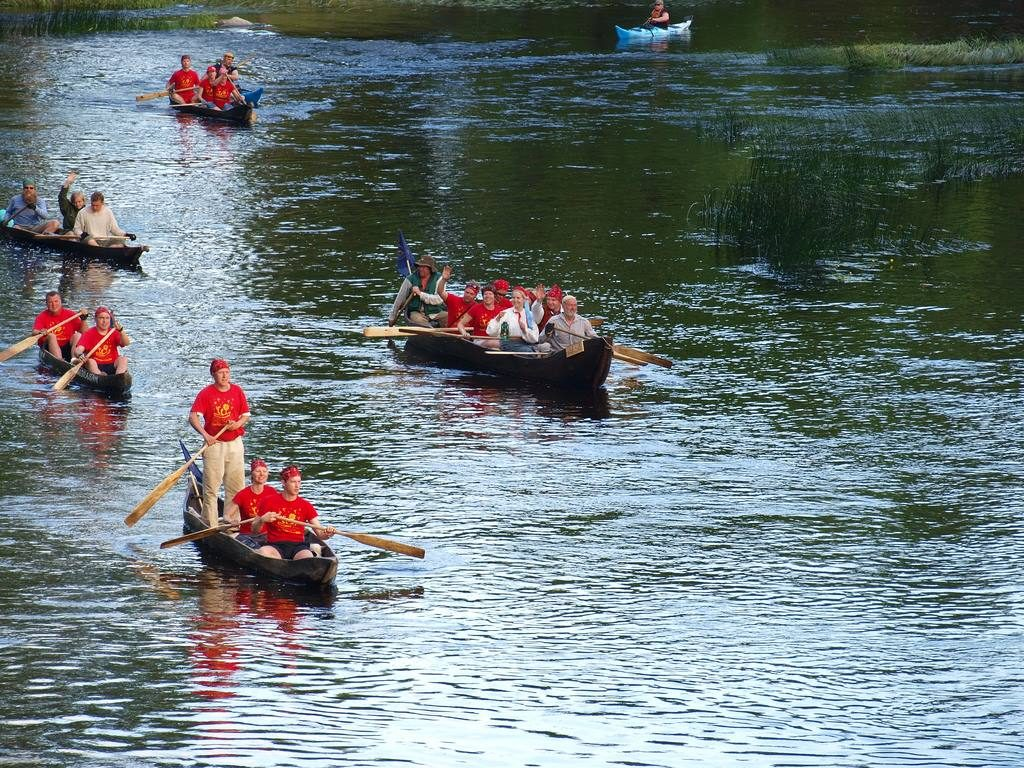 Estonian dugout canoes on the river